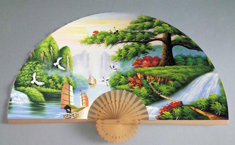 Tranh quạt Thuận buồm xuôi gió