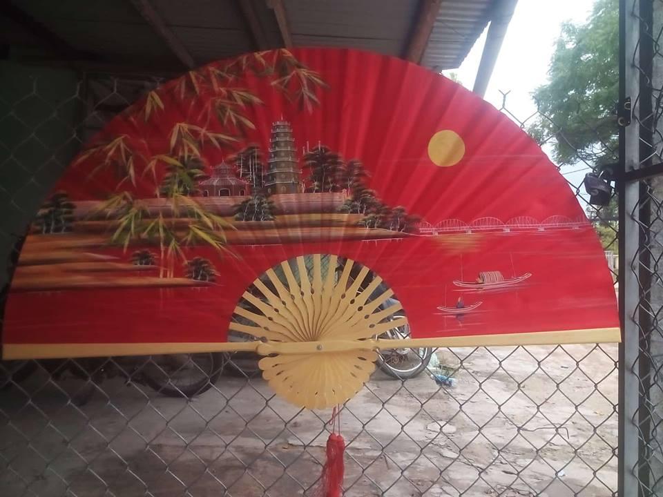 Tranh quạt chùa Thiên Mụ-Huế