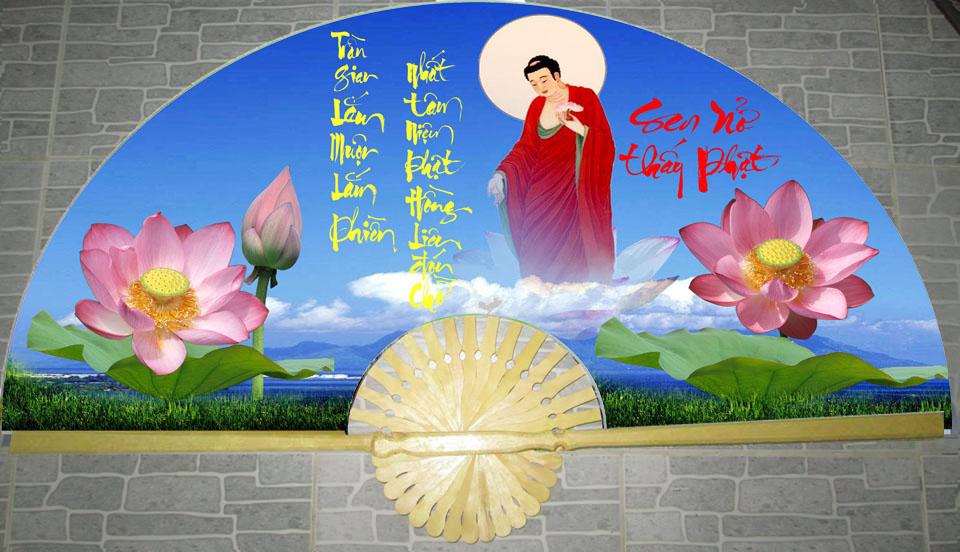 Tranh quạt Phật Di Đà