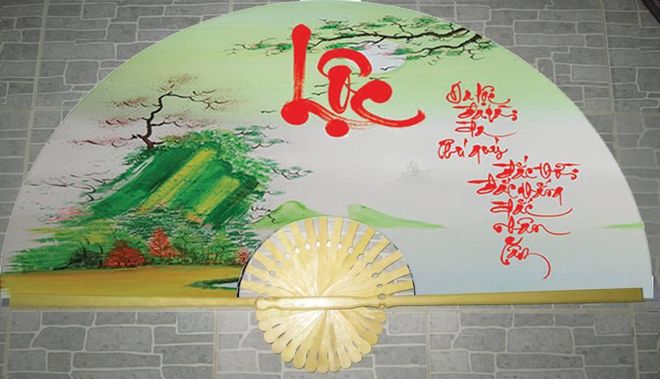 Tranh quạt chữ Lộc