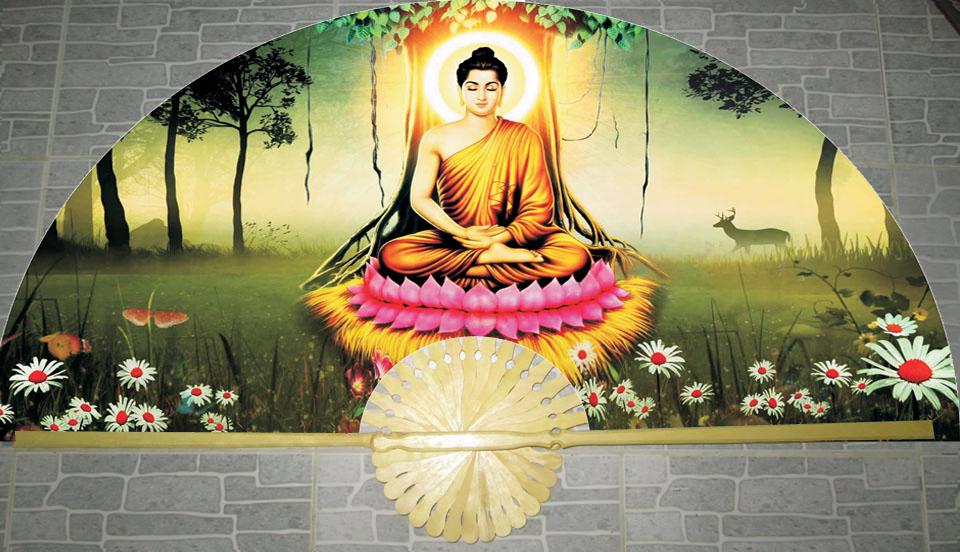 Tranh quạt Phật Thích Ca