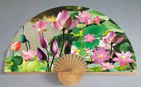 Tranh quạt hoa sen